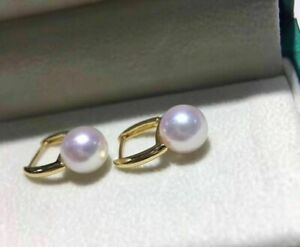 gorgeous AAA+ REAL NATURAL 8-9mm AKOYA round white pearl earring 18k GOLD