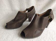 """M&S FOOTGLOVE - Ladies Brown Open Peep Toe Ankle Boot Shoes 3"""" Heel - UK 7 Wide"""