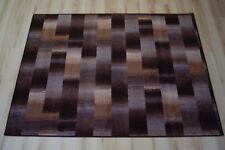 Karo Patchwork Teppich braun beige Velours umkettelt 170x270 Teppichboden