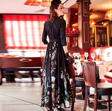 US-L Womens Long Dress Printing Full Length Slim Swing Gown Elegant 3/4 Sleeve