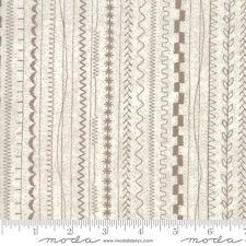 By 1/2 Yard ~ Moda Fabric BasicGrey Maven Stitches Stripe in Taupe ~ Basic Grey