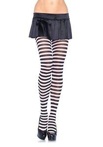 Leg Avenue Black Pink  Striped Tights Sexy Costume Halloween Cosplay