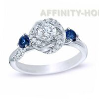 5/8 ct Diamond and Blue Sapphire Swirl Engagement Ring in 14K White Gold