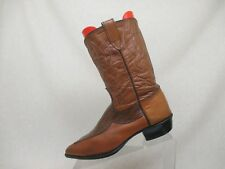 Vintage Two Tone Brown Leather Gator Print Cowboy Western Boots Women Size 6 D