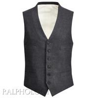 Ralph Lauren Purple Label Italy Wool Cashmere Charcoal Twill Button Down Vest