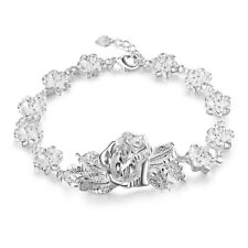 Gorgeous Rose Flower Women's 925 Sterling Silver Plated Charming Bracelets 8""