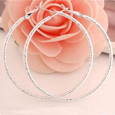 Fashion Women Elegant 925 Silver Big Ear Stud Crystal Jewelry Hoop Earrings New