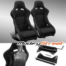 2 X Jdm Black Fabric Leftright Fiber Glass Pole Position Racing Bucket Seats Fits Toyota Celica