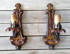 2 Antique Cast Wrought Iron Moe Bridges Floral Polychrome Wall Light Sconces