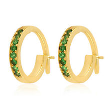 Studded Tsavorite Hoop Earrings 18k Yellow Gold Handmade Gemstone Jewelry Women
