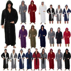 Men Long Sleeve Hooded Bathrobe Towel Soft Lounge Wear Sleepwear Warm Gown Robe