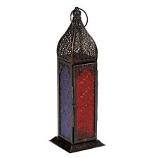 Moroccan Lantern Lamp Multi Coloured Glass 35cm Indian Wedding Rustic New Diwali