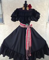 Mexican Fiesta,5 De Mayo,Wedding Black Dress 2 Piece w/Large Tricolor Sash