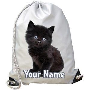 BLACK KITTEN CAT PERSONALISED GYM / PE / DANCE / SWIMMING BAG *GREAT NAMED GIFT*