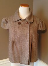 Top Shop Size 12 Shirt Sleeve Tweed W/ Gold Tread Cropped Jacket Vintage Inspire