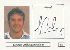 Lisandro Arbizu (Argentina) tarjeta de foto firmada jugador de rugby Autógrafo Original