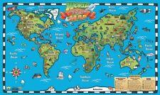 Kid's World Map Interactive Wall Chart Laminated Poster Print, 54x32