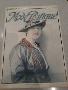 Vintage april 1916 french fashion mag w PATTERN SHEET for CORSET Mode Pratique