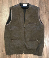 Harley of Scotland 100% Wool Hunting Vest Men's Large Poly Lined Zip Pockets