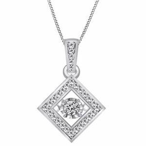"Round Simulated Diamond Platinum Plated Dancing Kite Pendant w/18"" Chain"