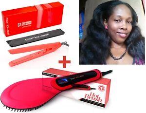 Corioliss C1 Hair Straightener Flat Iron + Hair Straightener Brush Coral Set