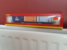 Hornby OO Gauge Bogie container wagon with 3 20ft containers - Boxed