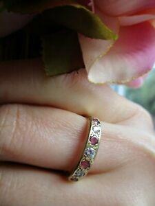 Vintage 9ct yellow gold Half Eternity Ruby & Diamond ring. Size N