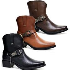 Mens Ankle Cowboy Biker Boots New Fashion Chelsea Western Harness Boots Shoes