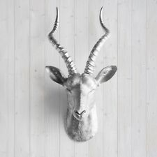 Wall Charmers Faux Silver Antelope Head Fake Animal Antler Africa Taxidermy