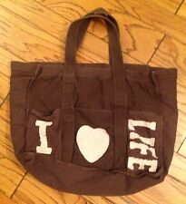Gap Old Navy Large Brown Cargo Canvas Tote Bag Shopping Travel Computer Pockets