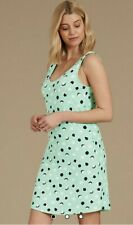 M&S SIZE 18 GREEN SPOTTED NIGHTDRESS NIGHTIE NEW SOFT STRETCH MARKS AND SPENCER