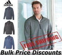 Adidas Brushed Terry Heather Quarter-Zip Shirt A284 up to 4XL