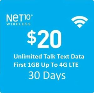 Net10 $20/Month Plan Refill: Unlimted Talk/Text/DATA, fast & right direct refill