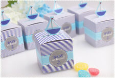 50x Baby on Board Sail Pattern Baby Shower Candy Gift Box Birthday Party Favors