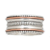 Meditation Spin Ring 925 Sterling Silver Two Tone Jewelry SMR45