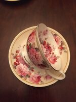 One Stechcol Gracie Bone China Pink Roses With Strawberry Tea Cup & Saucer NEW