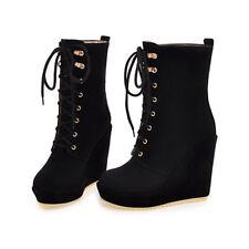 Freizeit Keilabsatz Damen Dick Absatz Stiefel Schuhe Stiefeletten Platform Neu