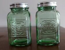 Salt and Pepper Shakers Pair Green Reproduction Depression Glass