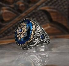 Men's Ring 925 Sterling Silver Handmade Jewelry Blue Sapphire Stone       #TR