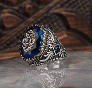 Men's Ring 925 Sterling Silver Turkish Handmade Jewelry Blue Sapphire Stone