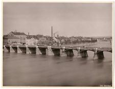 Suisse, Bâle, Basel, vue sur le Rhin et les ponts  Vintage albumen print Tir