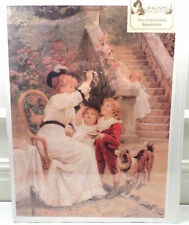 """Victorian Lithograph Print Picture """"Bubbles"""" Mother Children And Puppy Dog 12X16"""