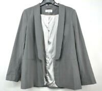 Calvin Klein Womens Gray Shawl Collar Long Sleeves Open Front Blazer Jacket 16