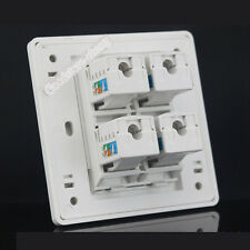 Wall plate 4 Port Socket Network Ethernet LAN CAT 6 Panel Faceplaet Cat6 RJ45