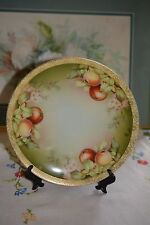 Vintage Thomas Sevres Bavaria Hand Painted Apples Cabinet Plate Signed