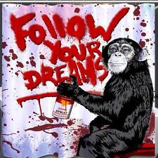Chimpanzé graffiti suivez vos rêves singe salle de bains rideau de douche polyester