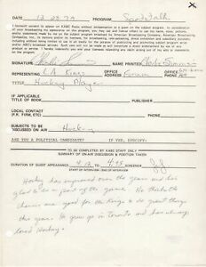 Charlie Simmer - NHL, Los Angeles Kings - Autographed 1979 Contract w PSA