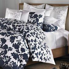 Barbara Barry NAVY BLUE Floral 3 QUEEN DUVET COVER SET Kimono Dots flower COTTON