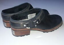 Womens Ugg Boots Australia Uggs Black Suede Slip On Clogs Size 6.5