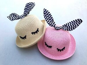 Straw children's hats ❤️in natural and pink Onesize fits 2-6 years🌈🌈